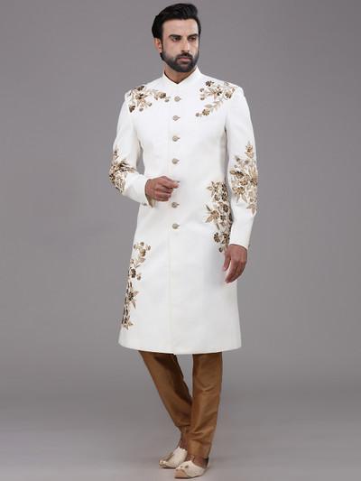 Wedding function linen white sherwani