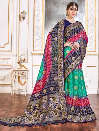 Wedding green and magenta bandhej georgette saree