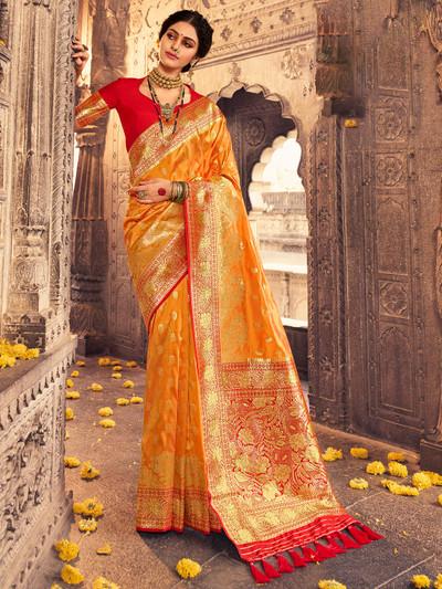 Wedding occasions latest rust banarasi silk saree
