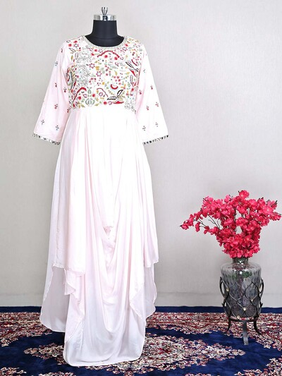 Wedding pink raw silk designer salwar kameez