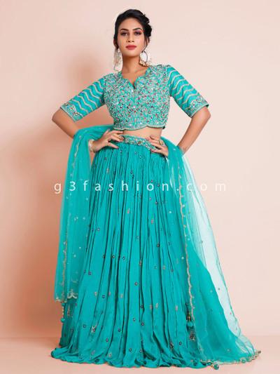 Wedding wear aqua chiffon lehenga choli for wedding
