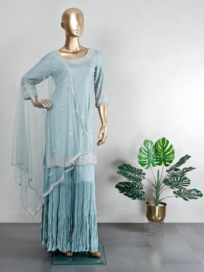 Wedding wear blue cotton silk sharara suit