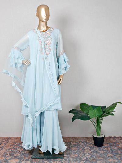Wedding wear blue georgette palazzo suit