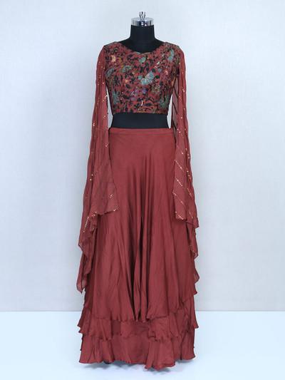 Wedding wear brown lehenga choli for women