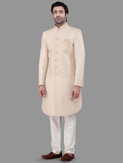 Wedding wear chikan silk yellow indo western