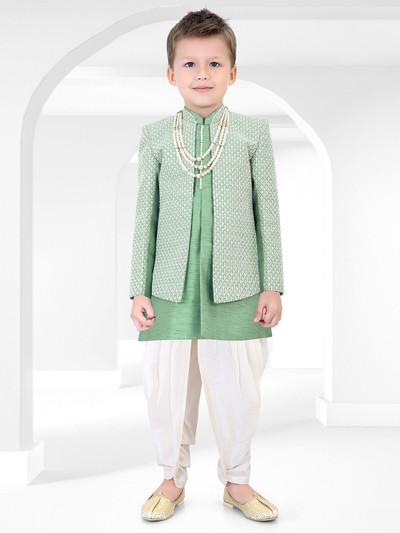Wedding wear chinese neck green indo western