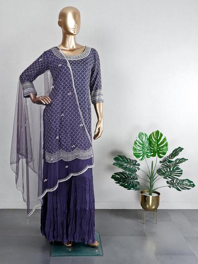 Wedding wear dark blue cotton silk sharara suit
