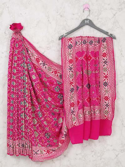 Wedding wear designer pink bandhej saree