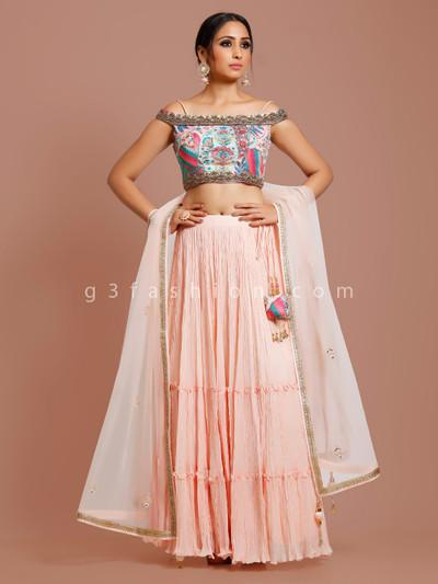 Wedding wear georgette lehenga choli in peach