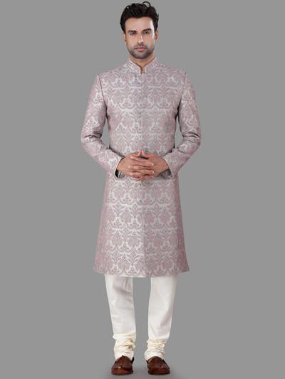 Wedding wear grey silk indo western