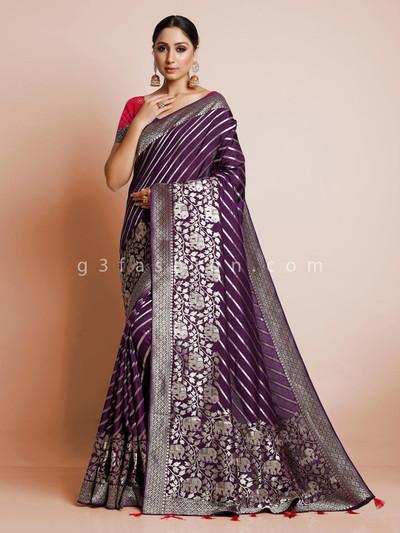 Wedding wear latest purple dola silk saree