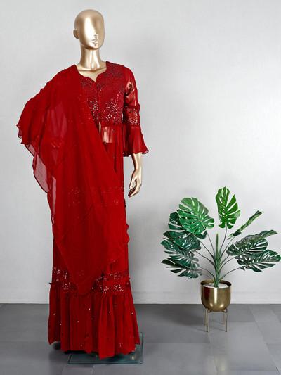 Wedding wear maroon georgette palazzo suit