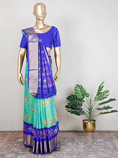 Wedding wear patola silk green and blue saree