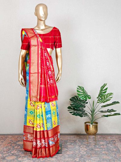 Wedding wear patola silk saree in yellow and red