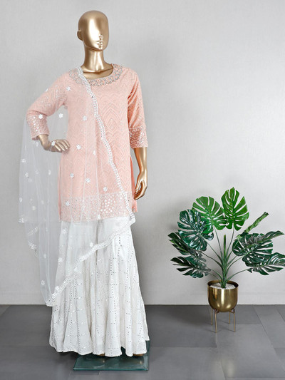 Wedding wear peach georgette sharara suit