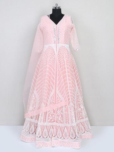 Wedding wear peach gown in net