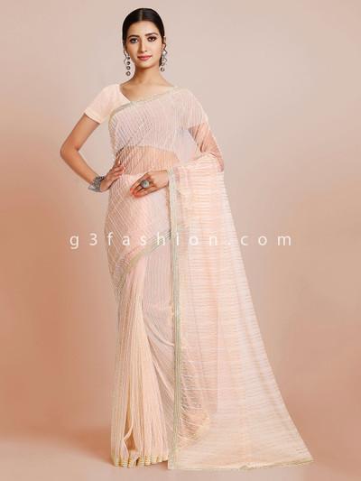 Wedding wear peach saree in tissue silk