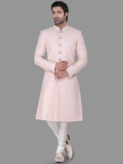 Wedding wear pink classic indo western