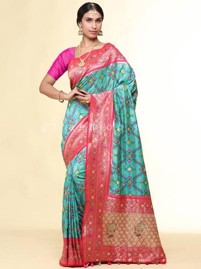 Wedding wear pista green patola silk saree