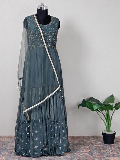 Wedding wear raw silk dark grey anarkali suit
