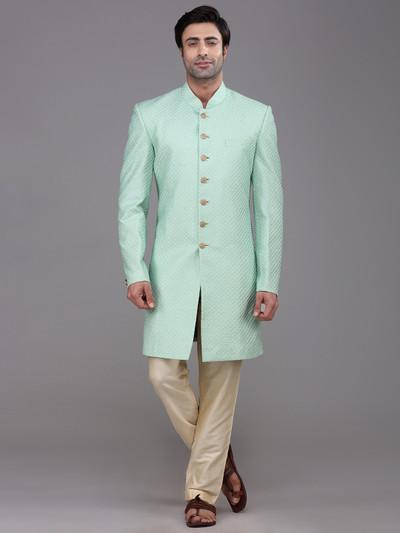 Wedding wear sea green silk indo western