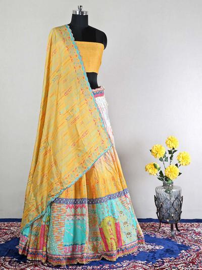 Wedding wear semi-stitched yellow silk lehenga choli