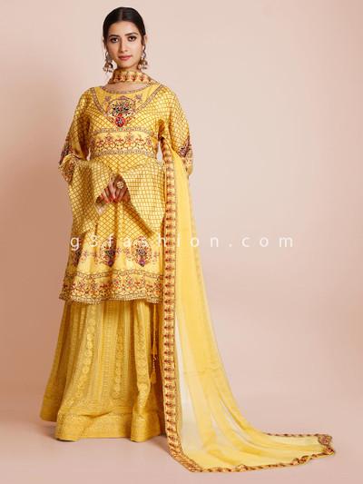 Wedding wear sharara suit in yellow hue