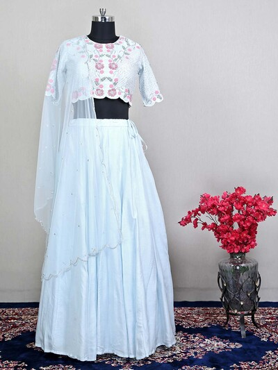 Wedding wear light grey lehenga choli for womens
