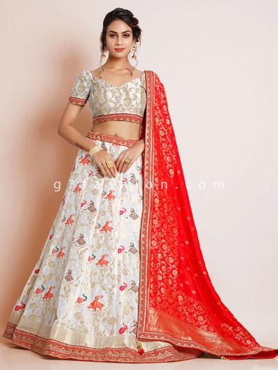 Wedding wear white banarasi silk unstitched lehenga choli