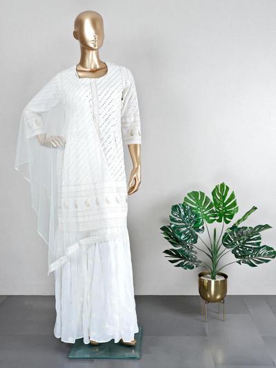 Wedding wear white georgette sharara suit