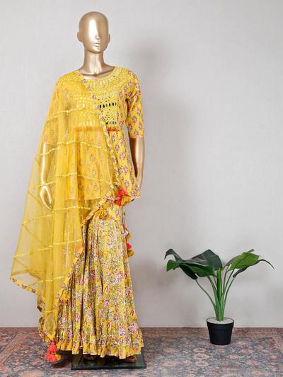 Wedding wear yellow cotton printed wedding wear sharara suit