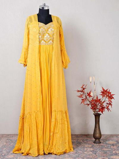 Wedding wear yellow designer anarkali salwar suit in georgette