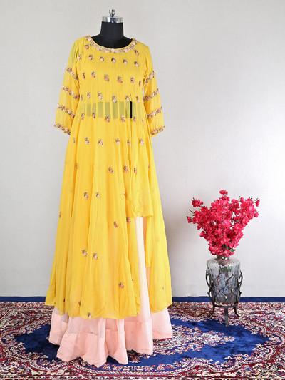 Wedding wear yellow georgette lehenga style suit