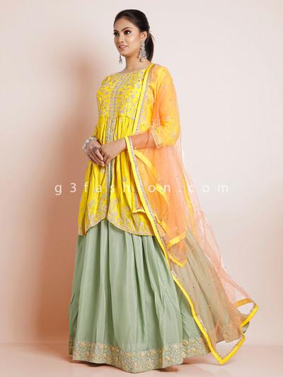 Wedding wear yellow georgette lehenga suit