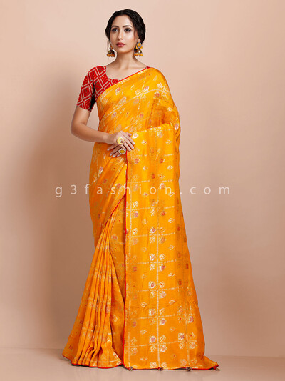 Wedding wear yellow muga silk designer saree
