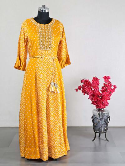 Wedding wear yellow silk anarkali long kurti