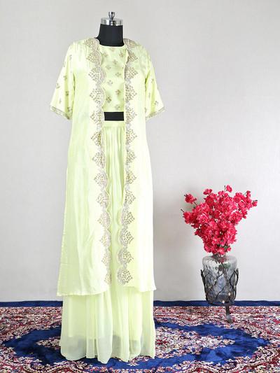 Wedding wear yellow silk indowestern suit