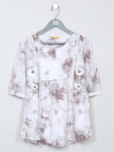 Western wear white poly cotton top