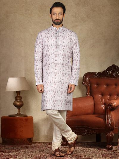 White and ciolet printed festive occsaion kurta suit
