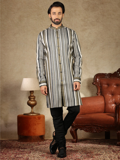 White and olive cotton silk kurta suit festive wear