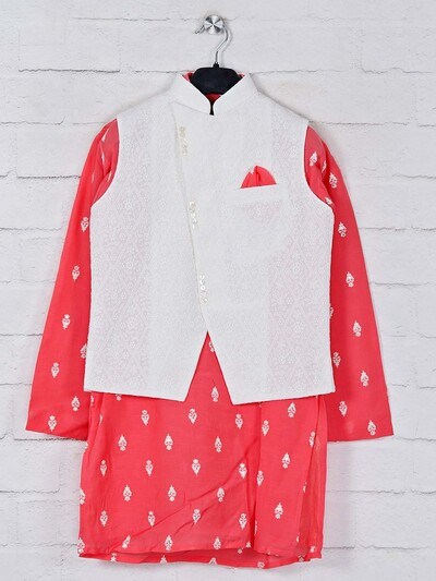 White and pink georgette waistcoat set
