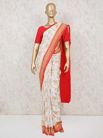 White and red munga silk saree for wedding