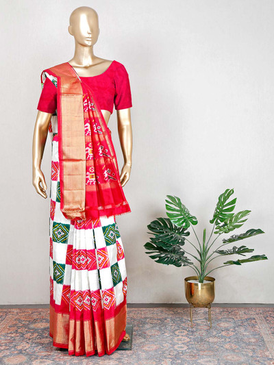 White and red patola silk saree for wedding