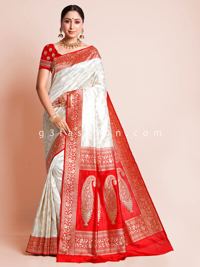 White banarasi silk saree for wedding
