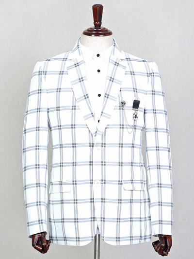 White checks style terry rayon blazer