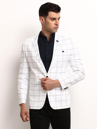 White checks terry rayon blazer party wear