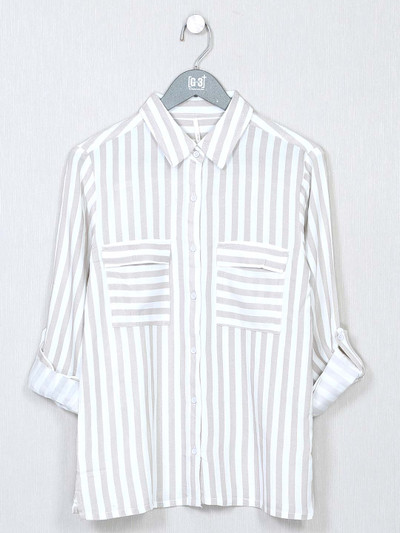 White stripe top for women in chexs style