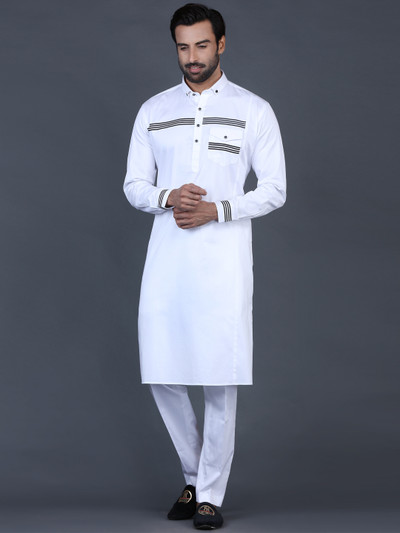 White cotton men solid pathani suit
