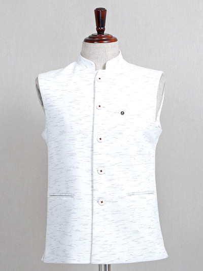 White cotton mens waistcoat for parties