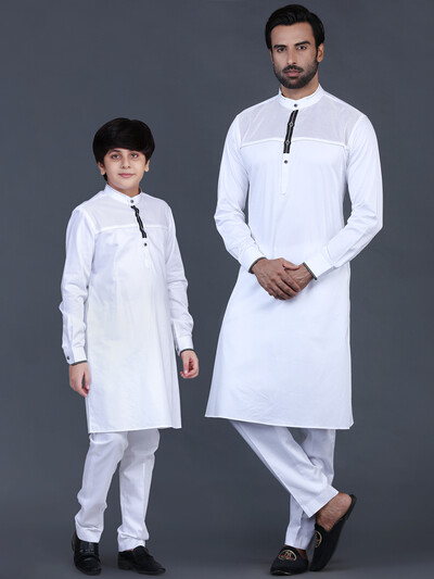 White cotton pathani suit for father and son